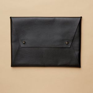 Tribe Alive black and gold leather envelope pouch